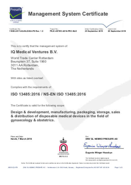 ISO 13485 CERTIFIED – IQ Medical ventures BV